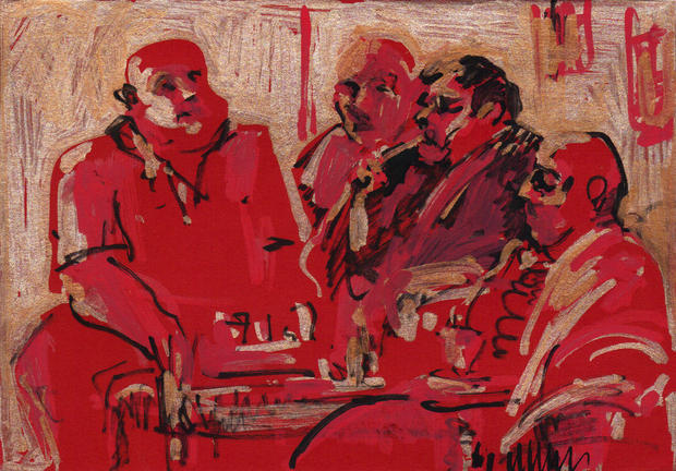 Hookah smokers in red II, 2014