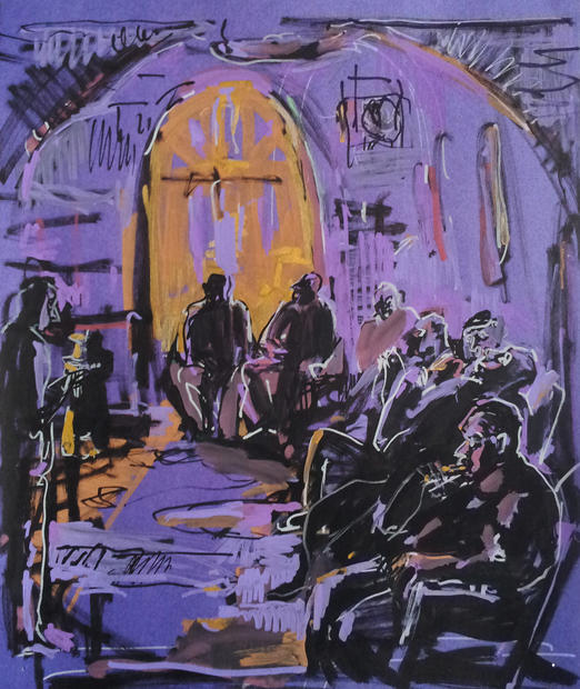 Hookah smokers in violet, 2014