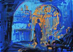 Hookah smokers in blue, 2014