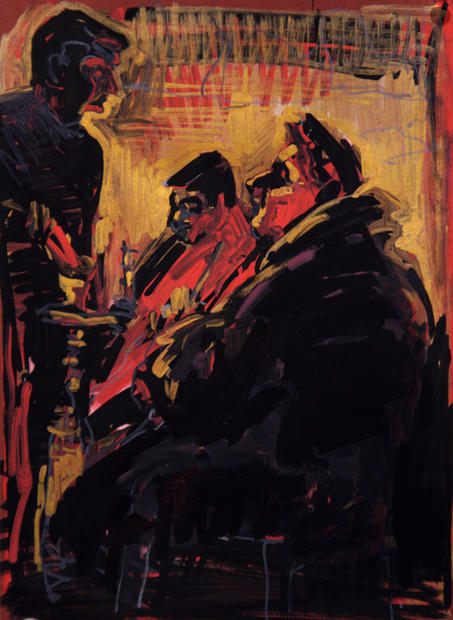 Hookah smokers in deep red, 2014