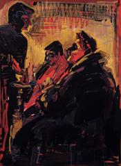 Hookah smokers in deep red, 2014