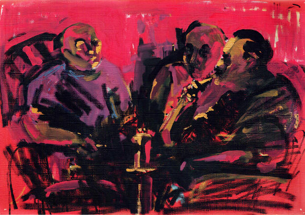 Hookah smokers in red, 2014