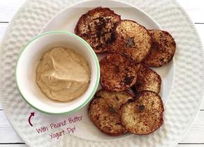 Air Fryer Cinnamon Apple Chips W/ Peanut Butter Yogurt Dip