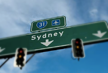 Picture of a road sign says Sydney