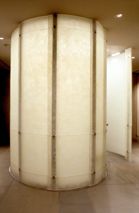 Cast and Slumped Glass Shower Wall
