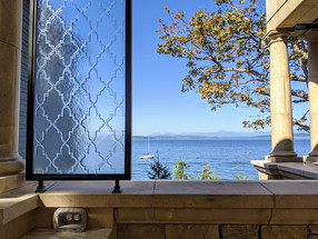 Embossed Glass Privacy Screen