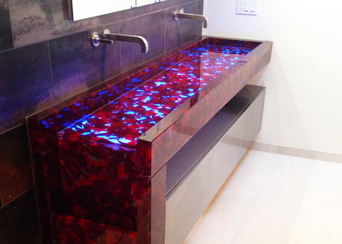 Cast Glass Waterfall Sink