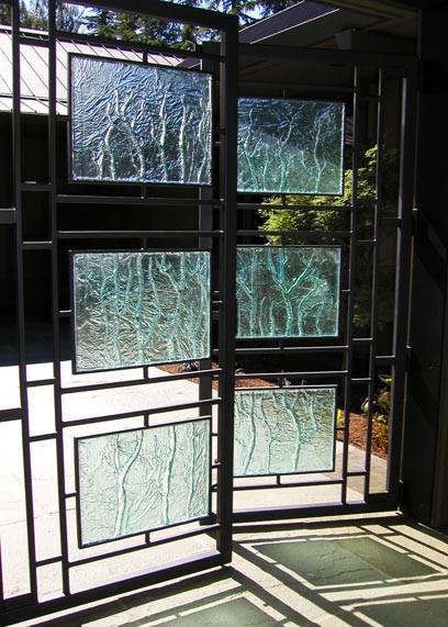Embossed Glass Gate Panels