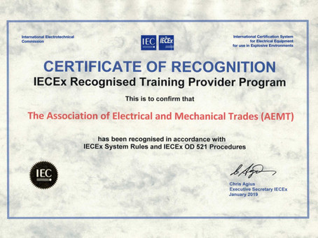 AEMT Ex Course recognised by IECEx Training Provider Programme