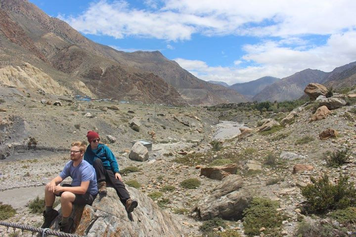 Hikers Resting in the Mountain Range of Nepal
