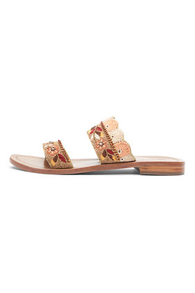 EMBROIDERED DUAL-STRAP SLIDES
