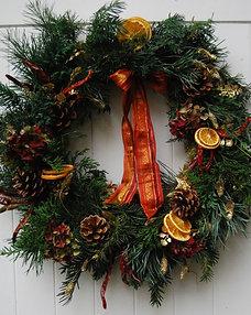 Christmas Wreath 'Seville' with vintage ribbon & oranges