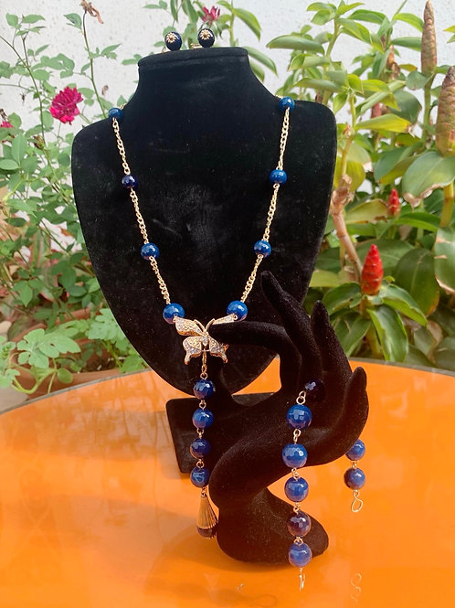 Blue Agate Butterfly Set