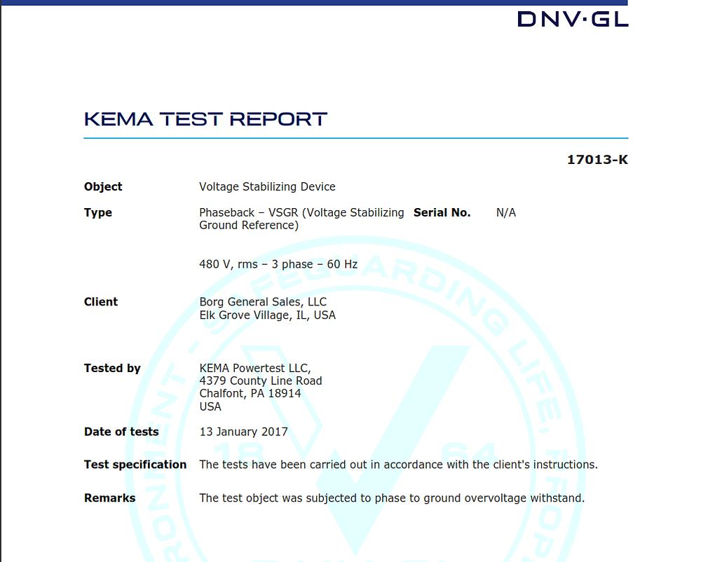 Kema VSGR final test report
