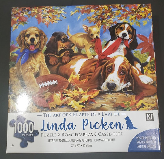 "Linda Picken Let's Play Football Puppies Dogs Jigsaw Puzzle 1000 Piece 27""X20"""