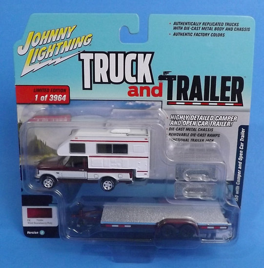 JOHNNY LIGHTNING TRUCK AND TRAILER 1993 FORD F-150 W/ CAMPER & OPEN CAR TRAILER