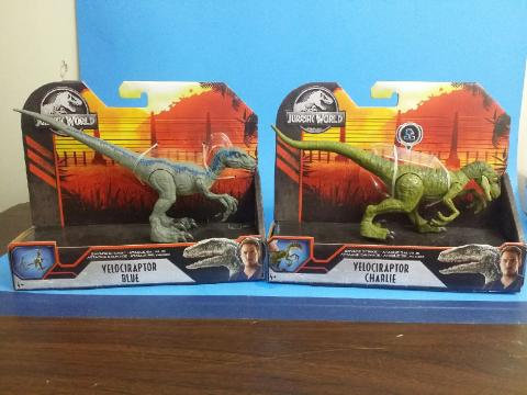 Lot of 2 Jurassic World Savage Strike Velociraptor Blue, & Charlie