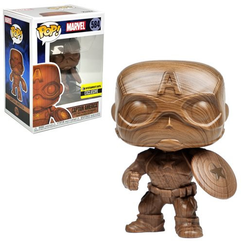 Funko Marvel EE Exclusive POP Captain America Wood Vinyl Figure