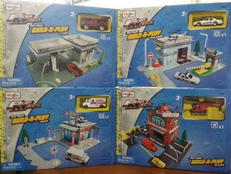 Lot of 5 Maisto Fresh Metal Play Places Build-n-Play