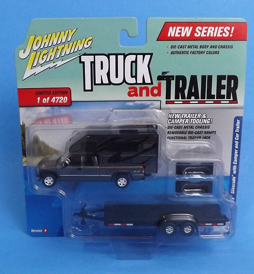 Johnny Lightning Truck and Trailer 2002 Chevy Silverado with Camper Trailer