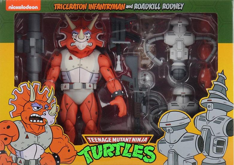 NECA TMNT Triceraton Infantryman and Roadkill Rodney 2-Pack
