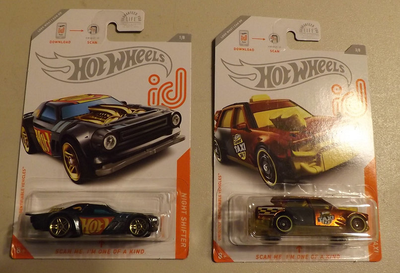 Hot Wheels ID CHASE. Carded. Lot of 2 Night Shifter & Time Attaxi