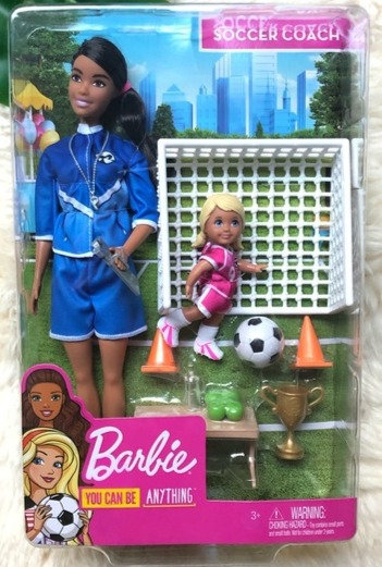Barbie You Can Be Anything Soccer Coach Brunette Barbie Doll