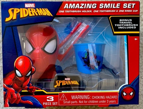 Marvel Spider-Man Amazing Smile Gift 3 Pc Set Toothbrush Holder Rinse Cup