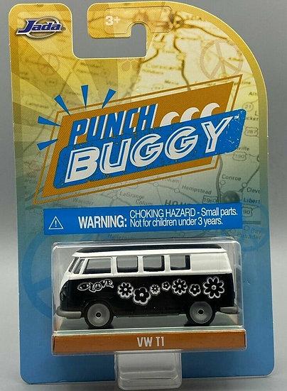 JADA Punch Buggy VW VAN VW T1 LOVE FLOWER BLACK / WHITE 1/64