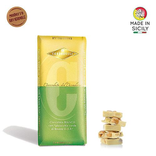 Cioccolato bianco al pistacchio di Bronte DOP 100gr Condorelli