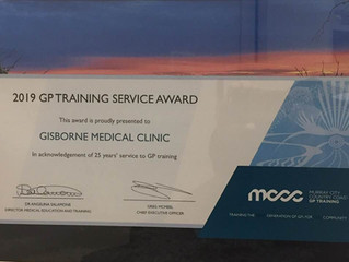 Gisborne Medical Centre GP Training Service Award - 25 years of service