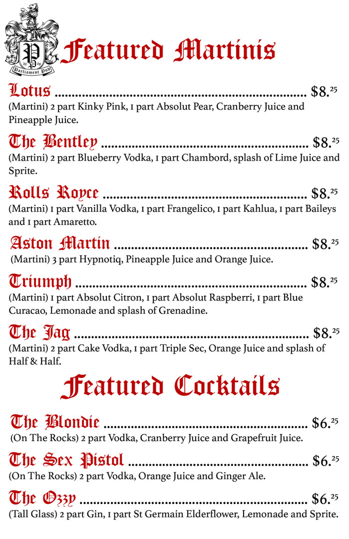 Featured Martinis and Cocktails