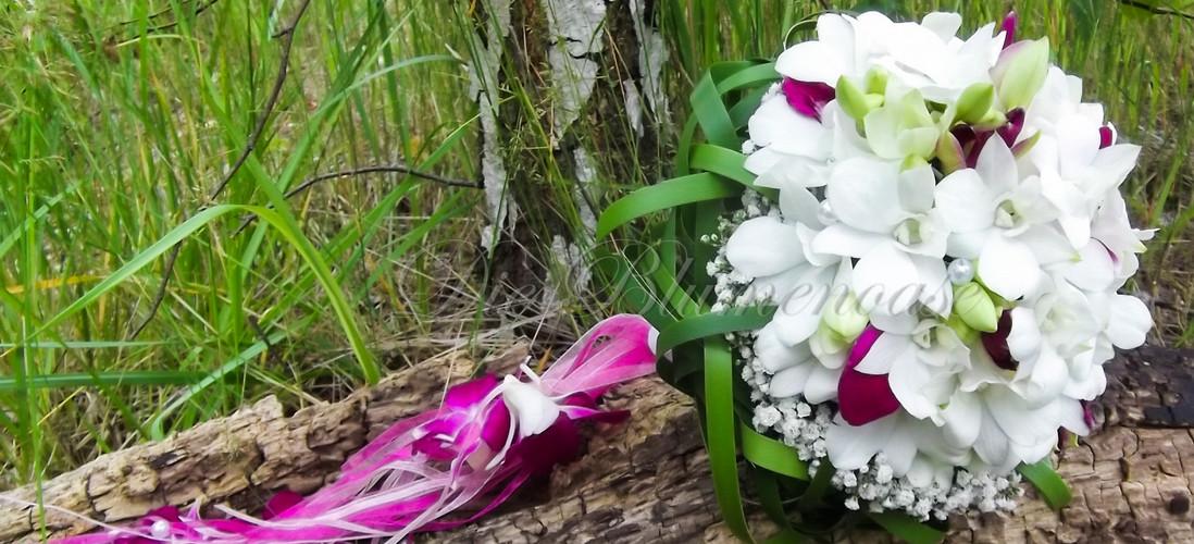 Brautstrauß mit Dendrobien blüten