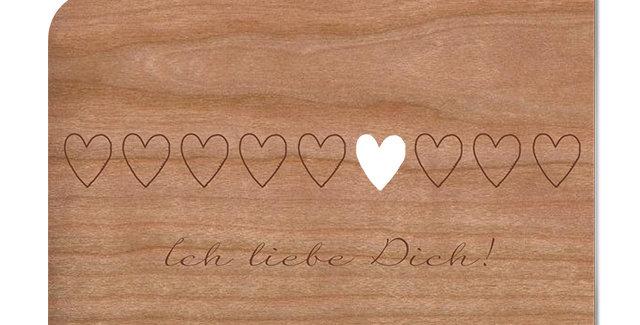 Holzpost Grußkarte -Ich liebe Dich