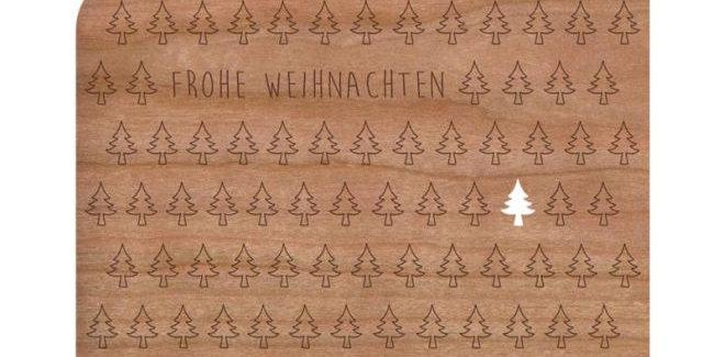Holzpost Grußkarte -Tannenbäume