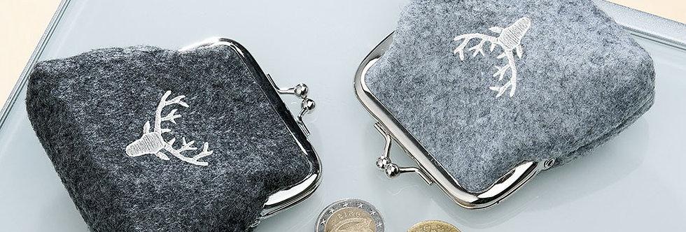 kleiner Geldbeutel mit Klipp mit gesticktem Hirschkopf
