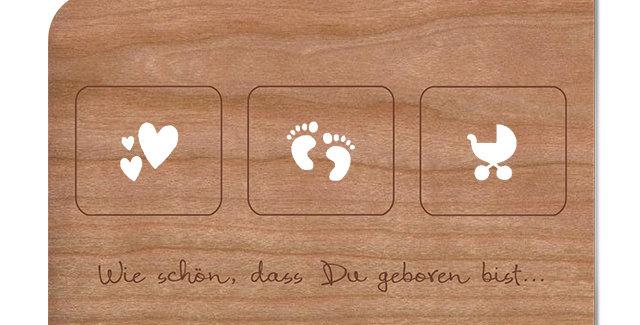 Holzpost Grußkarte - Wie schön das du geboren bist