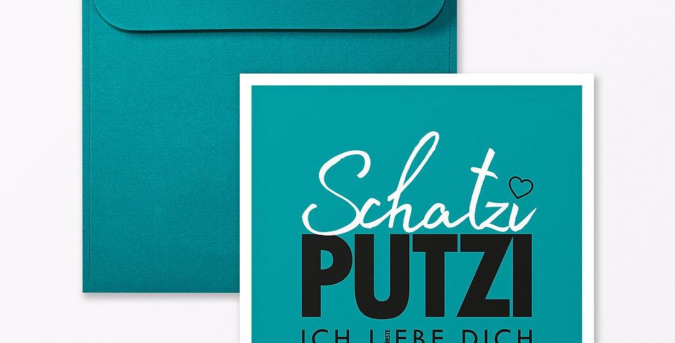 """2-teiliges Set Design GRUSSKARTE """"Schatziputzi"""""""