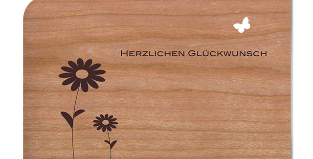 Holzpost Grußkarte -Herzlichen Glückwunsch mit Blume