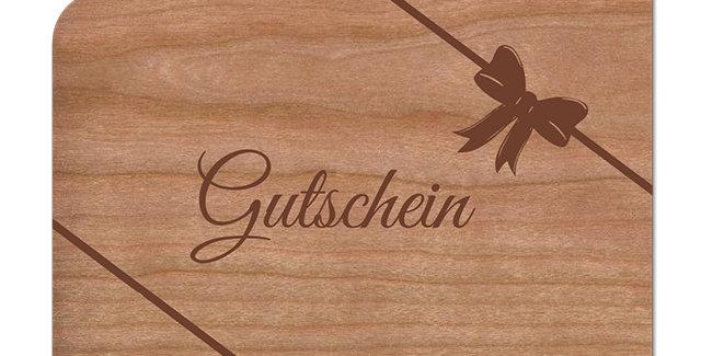 Holzpost Grußkarte -Gutschein