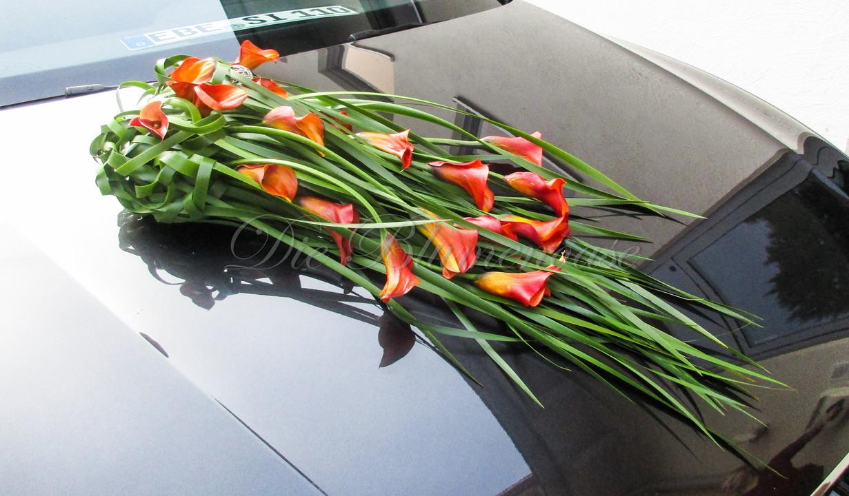 moderner Blumenschmuck für Brautauto