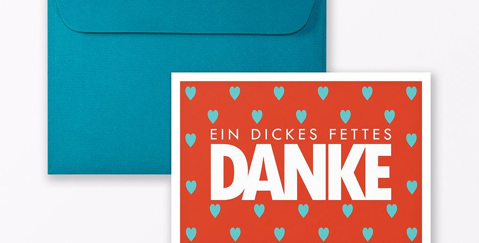 """2-teiliges Set Design DANKESKARTE """"Dickes fettes Danke"""" A6 inkl. Umschlag"""