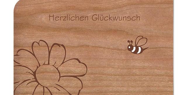 Holzpost Grußkarte -Herzlichen Glückwunsch