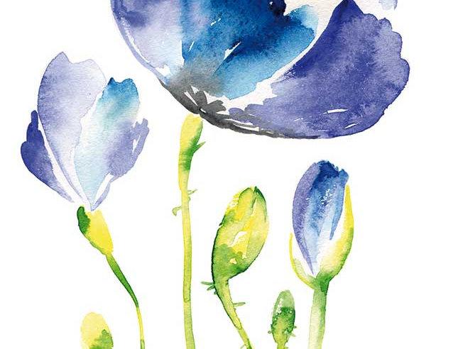 Ohne Worte -Blaue Blumen Malerei