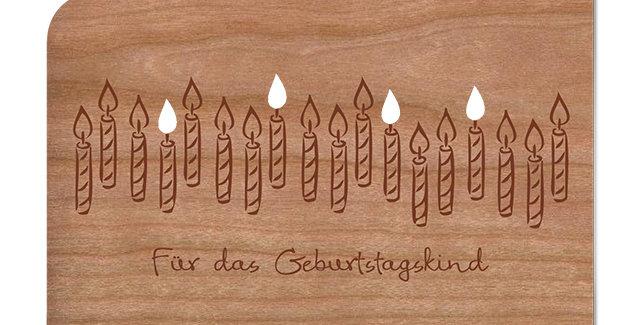 Holzpost Grußkarte -Für das Geburtstagskind