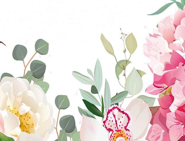 Glückwunsch - Bunte Blumen Malerei