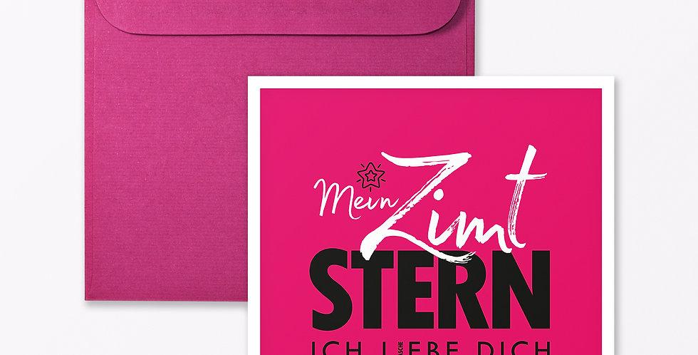 "2-teiliges Set Design GRUSSKARTE ""Zimtstern"" Pink"