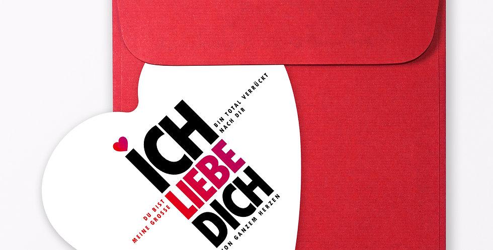 """2-teiliges Set Design GRUSSKARTE """"Ich liebe Dich"""" in Herzform"""