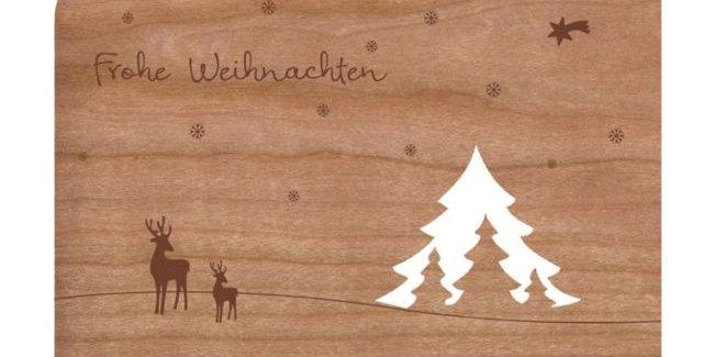 Holzpost Grußkarte -Bäume