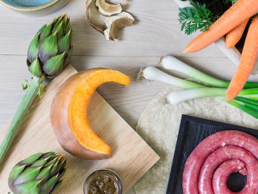 Strudel di verdure con cuore di salsiccia e salsa di funghi